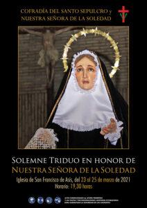 Cartel Solemne Triduo en honor de Nuestra Señora de la Soledad 2021